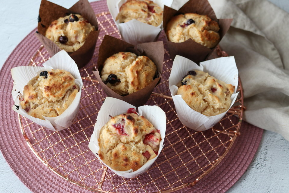 Mixed Berry & Coconut Wholemeal Muffins