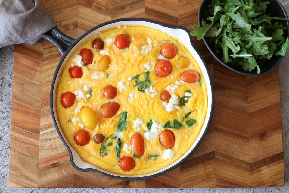 Spinach, Cherry Tomato & Goats Cheese Frittata