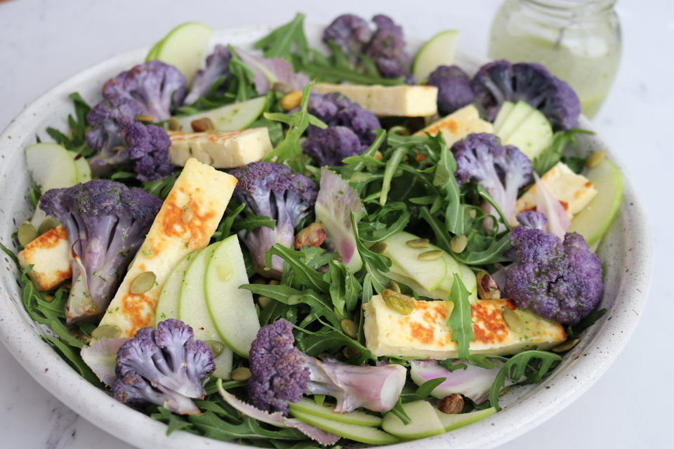 Cauliflower, Apple & Halloumi Salad with a Parsley Dressing